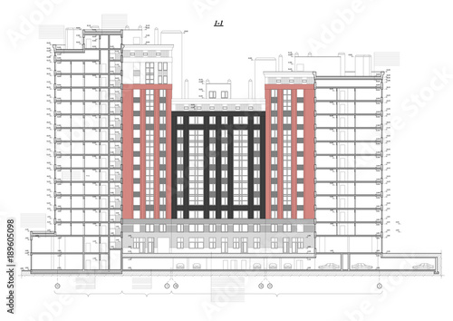 Detailed architectural plan of multistory building with underground detailed architectural plan of multistory building with underground garage parking cross section view malvernweather Gallery