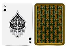 Ace Of Spades Face With Floral...