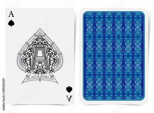 Photo Ace of spades face with capital letter A inside floral pattern in the center of spades form and back with blue floral pattern on suit