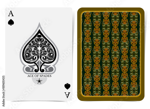 Fototapeta Ace of spades face with floral pattern inside spades and back with orange green floral pattern on dark suit