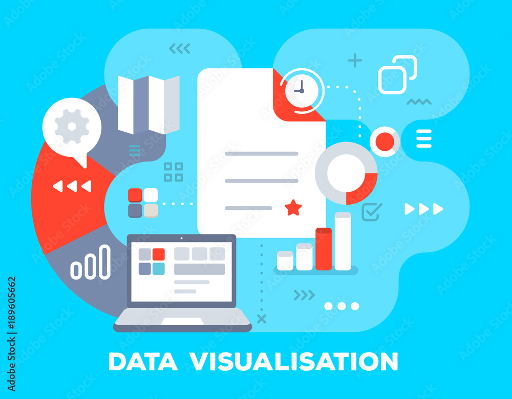 Fototapety, obrazy: Vector bright business illustration of office supplies: big document, clock, laptop, growth chart and icons. Data visualisation concept on blue background with title.