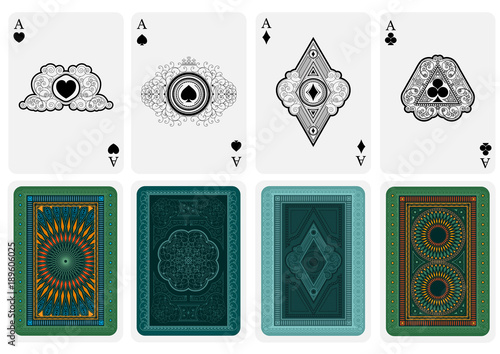 Best set from four card aces with different faces and backs Canvas Print