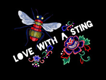 Embroidery Slogan With Bee And...