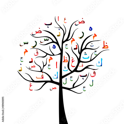 Creative Tree With Arabic Islamic Calligraphy Symbols Vector