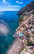aerial view of Positano photo, beautiful Mediterranean village on Amalfi Coast (Costiera Amalfitana), best place in Italy, travel tour concept, heavenly place villa, vacation by the sea