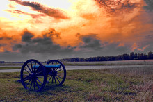 Civil War Cannon And A Firey S...