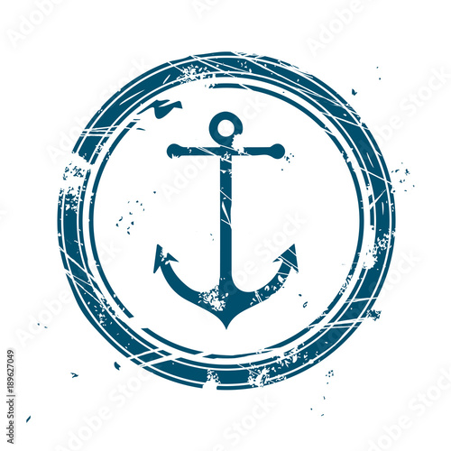 Blue maritime stamp with anchor Fototapete