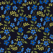 Floral Embroidery Seamless Pattern With Blue Flowers For Your De