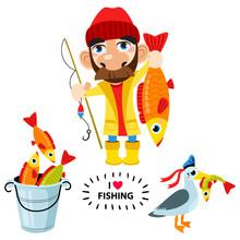 Set Of Happy Fisherman Character Hold Big Fish, Seagull, Fish. Vector Flat Cartoon Illustration