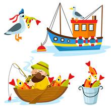 Set Of Happy Fisherman Charact...