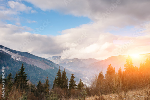 Printed kitchen splashbacks White Scenic winter view on top of the Carpathian mountain