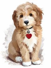 Shaggy Yellow Puppy Watercolor...