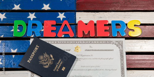 Dreamers concept using spelling letters on US flag Canvas Print