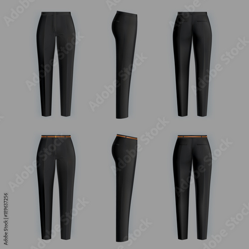 Fototapeta Vector realistic black trousers for women isolated on gray background