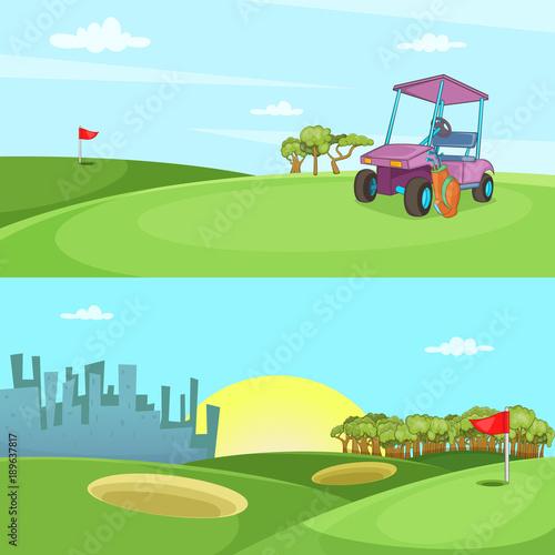 In de dag Lime groen Field of golf banner set horizontal, cartoon style