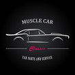 Muscle car silhouette. American classic sports car outlines. Logotype for your company.