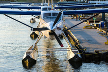 Seaplanes Tied Up To A Jetty
