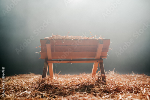 Photo  Christmas Manger with Hay