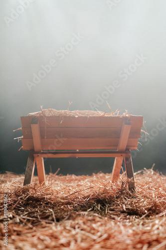 Christmas Manger with Hay Fototapeta