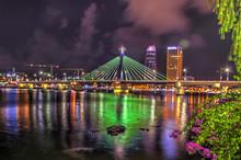 Neon Lit Bridge Over The Han R...