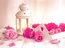 Still Life With Roses And A Wh...