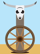 A Flat Vector Steer Skull Is M...