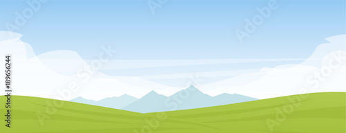 Vector illustration: Summer panoramic cartoon flat landscape with mountains, hills and green field.