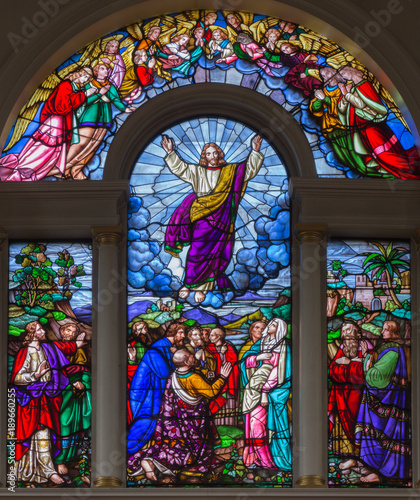 Photo  LONDON, GREAT BRITAIN - SEPTEMBER 15, 2017: The Ascension of the Lord on the satined glass of St James's Church, Clerkenwell Alexander Gibbs & Co (1863)