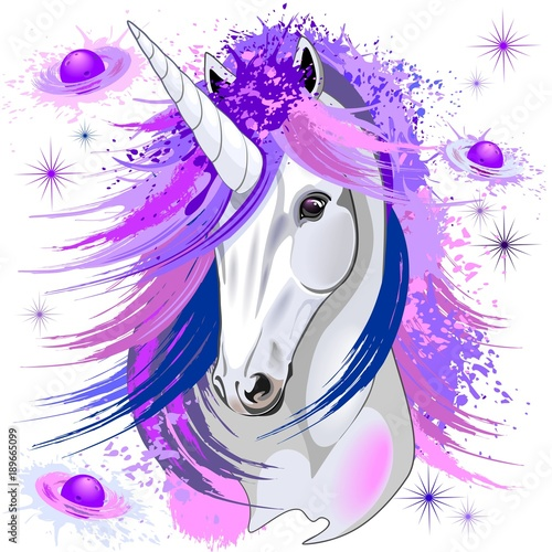 Spoed Foto op Canvas Draw Unicorn Spirit Pink and Purple Mythical Creature