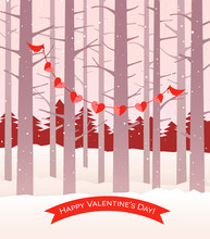 Happy Valentine's Day Design With 2 Cardinal Birds Holding String Of Hearts In Winter Forest.