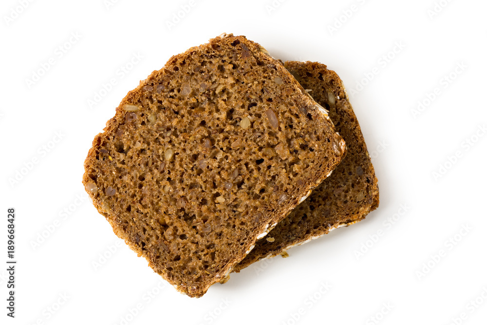 Bread whole grain slices isolated on white background