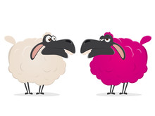 Clipart Of A Crazy Pink Sheep