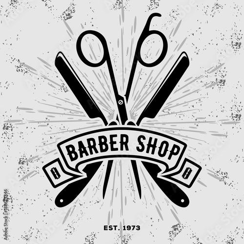 Barber shop vintage label, badge, or emblem on gray background. Vector illustration © zfmbek