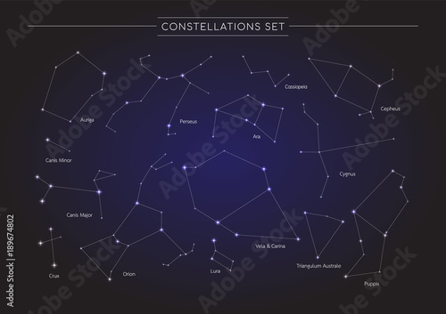 constellation in cosmos background, group of star in galaxy, astronomy set, vector illustration