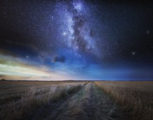 Fine Art Landscape With Starry Sky Over Stubble Field