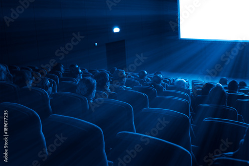 Photo  viewers watch a 3D movie, blue toning