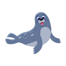 Cute Cartoon Seal. Arctic  Ani...