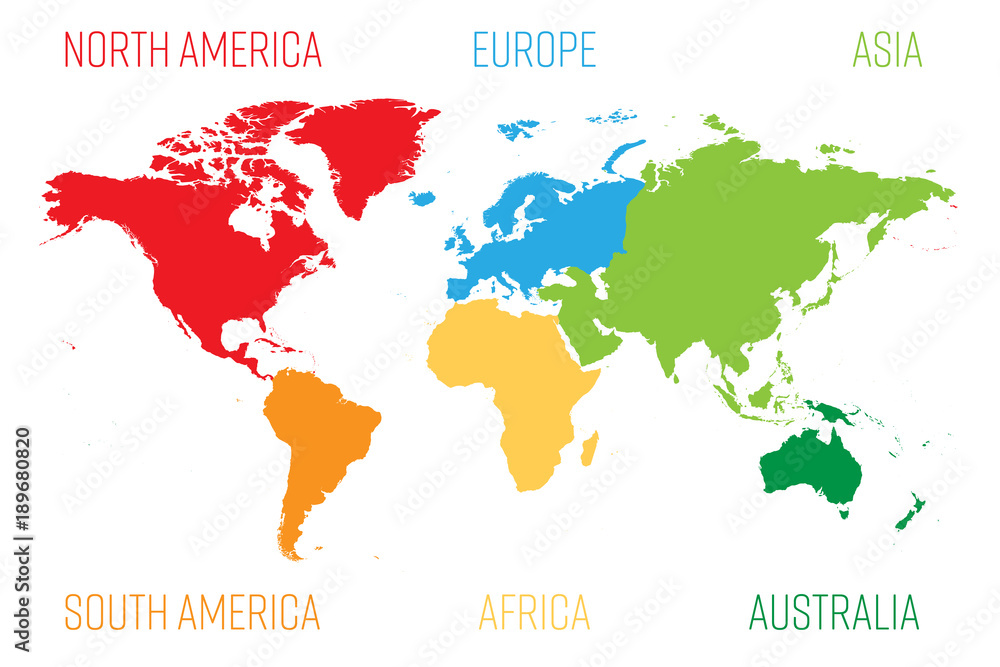 Fototapeta World map divided into six continents. Each continent in different color. Simple flat vector illustration.