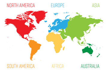 World map divided into six ...