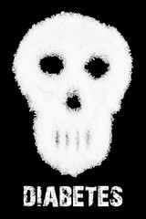 Deadly sugar addiction suggested by spilled white sugar crystals forming a skull. Diabetes mellitus concept