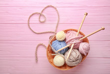 Balls Of Knitting Yarn In Bask...