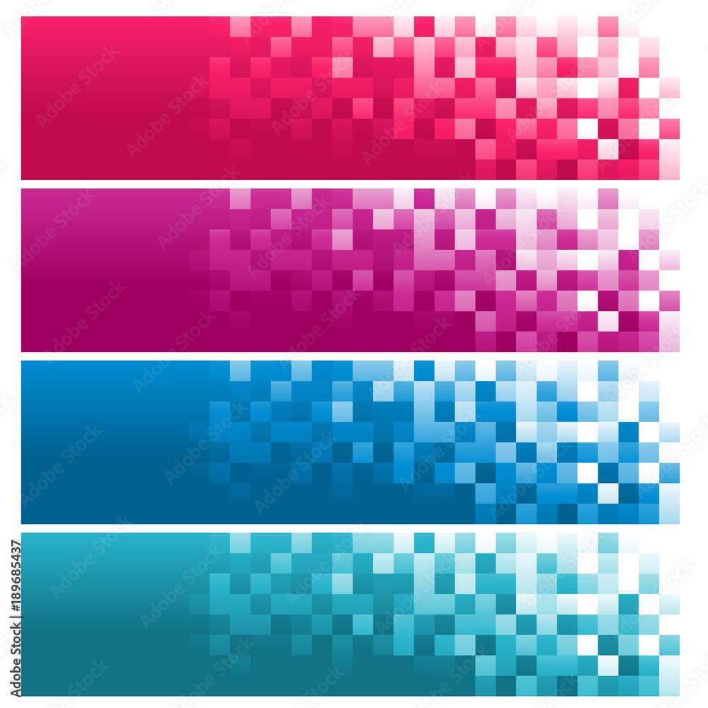 Fototapeta Colorful Pixel Banners