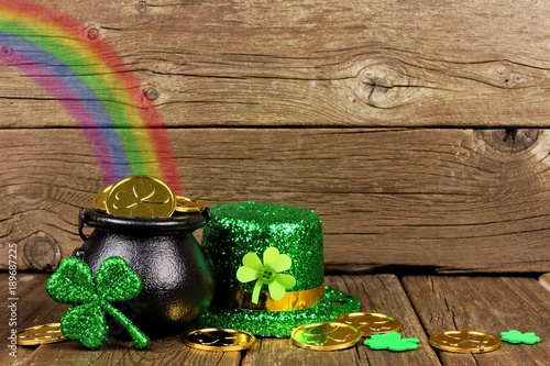 St Patricks Day Pot Of Gold With Rainbow, Shamrocks And