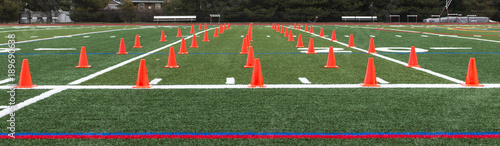 Turf field et up for speed and agility practice Canvas Print