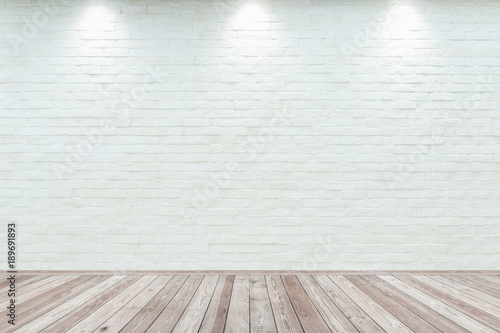 Fotobehang Historisch geb. Room interior vintage with white brick wall and wood floor