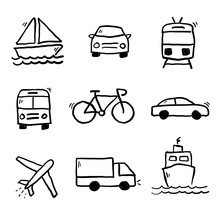 Transportation Doodles Collection