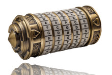 Cryptography Codes And Ciphers , Top Secret Message And Keyword Puzzle Concept With A Metal Combination Cryptex Isolated On White With A Clipping Path Included