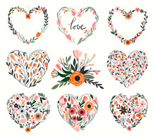 Floral Hearts Collection With Eight Hand Drawn Decorative Flowers And Plants
