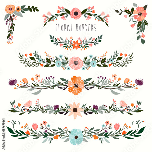 Floral borders collection with hand drawn decorative garland Wall mural