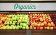 canvas print picture - Close up on organic apples in the supermarket for sale